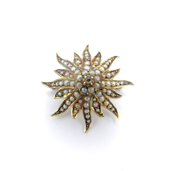 Victorian 14K Gold Diamond & Pearl Star Shaped Pendant Brooch Brooch Kirsten's Corner