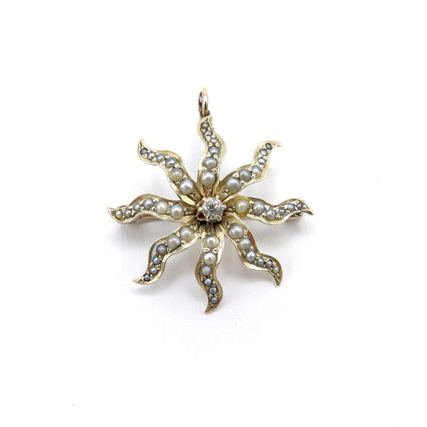 Victorian 14K Gold Star Pendant Brooch with Seed Pearls & Diamond Kirsten's Corner