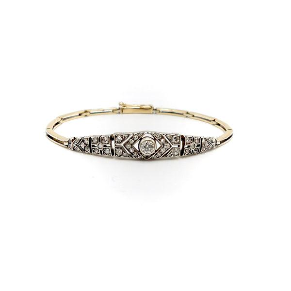 Articulated Victorian Silver Topped 14K Gold Diamond Bracelet