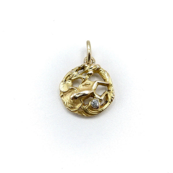Art Nouveau 18K Gold Frog Pendant / Charm with Diamond Kirsten's Corner