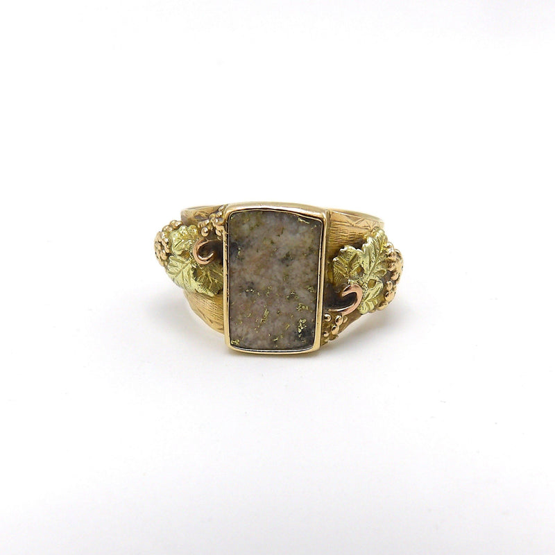 Gold Rush Era 14K Yellow Gold with Gold In Quartz and Rose Gold, Yellow Gold, and Green Gold Details RING Kirsten's Corner Jewelry