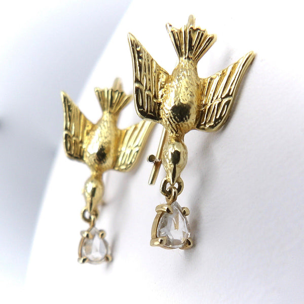 14K Gold Artisan Swallow Earrings with Tear-Drop Diamonds Earrings Kirsten's Corner