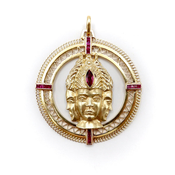Three Headed Trimurti Hindu Gold Medallion with Rubies Pendant Kirsten's Corner