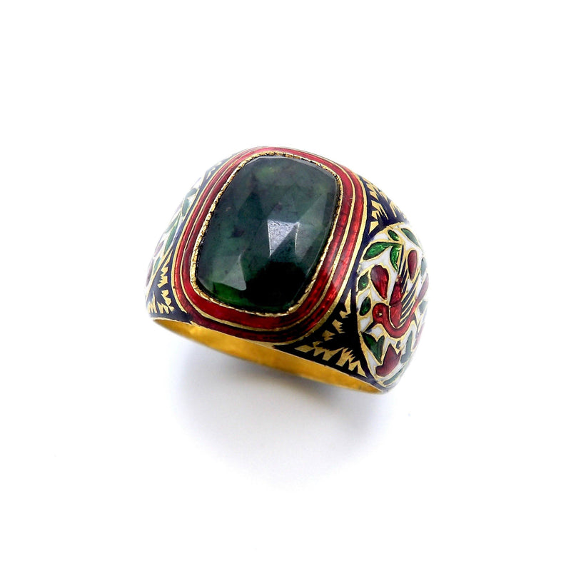 22K Gold Mughal Emerald and Enamel Ring Ring Kirsten's Corner