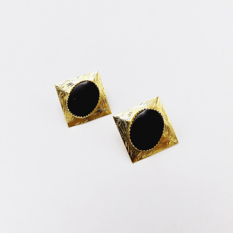 Victorian 14K Gold and Onyx Mourning Earrings Earrings Kirsten's Corner Jewelry