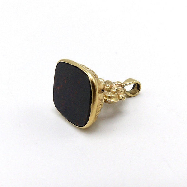 9K Gold and Bloodstone Watch Fob Pendant, circa 1906 - Kirsten's Corner Jewelry