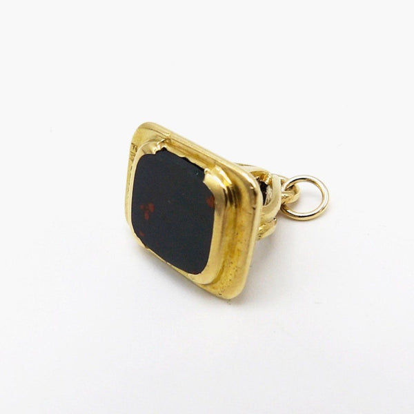 9K Gold and Bloodstone Watch Fob Pendant, Circa 1905 - Kirsten's Corner Jewelry