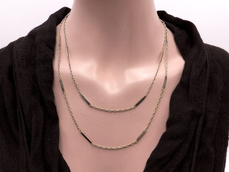14k Gold Art Deco Long Bar-Link Chain Necklace Chain Kirsten's Corner Jewelry