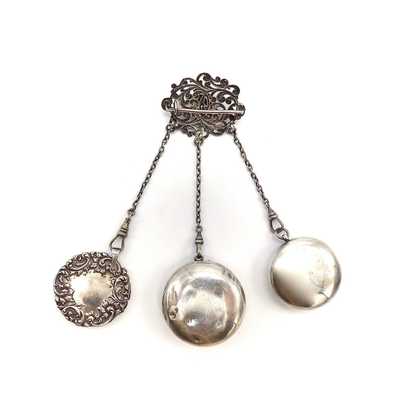 Sterling Silver Dance Chatelaine with Brooch and Three Appendages Objects of Virtue Kirsten's Corner Jewelry