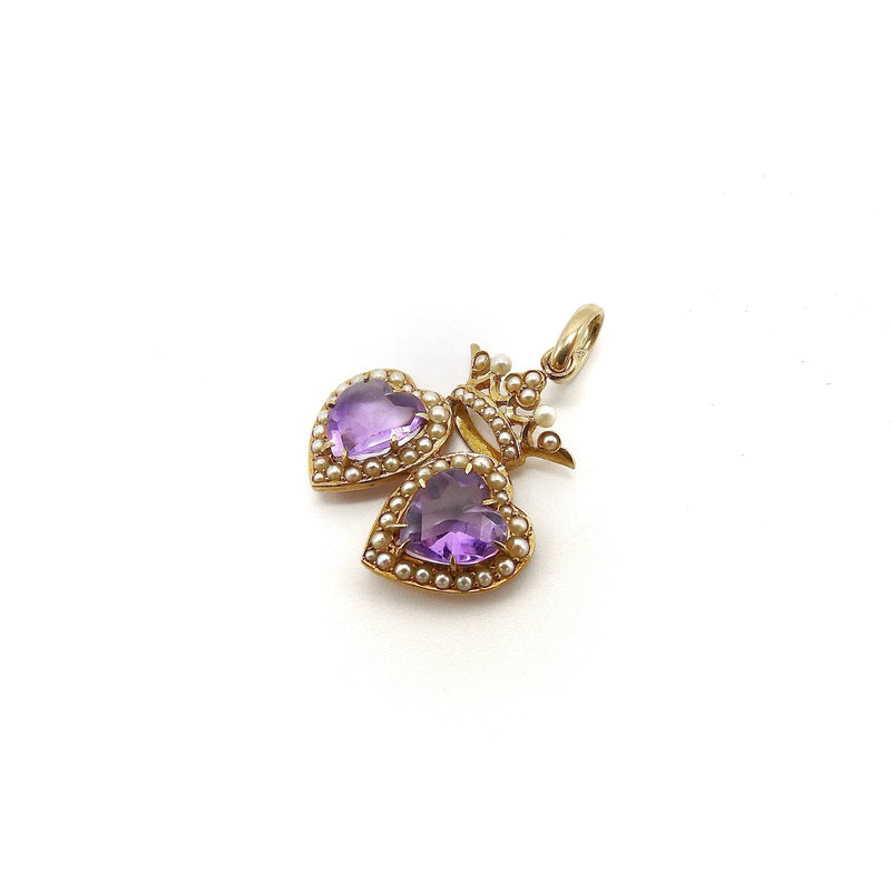 Victorian 14K Gold Double Heart Pendant with Amethyst and Pearls Pendant Kirsten's Corner