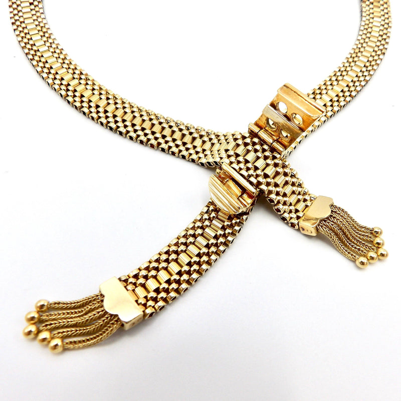 14K Woven Gold Necklace with Buckle Clasp and Tassels Necklace Kirsten's Corner