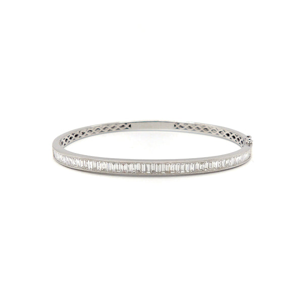 18K White Gold Diamond Baguette Bangle Bracelet Kirsten's Corner