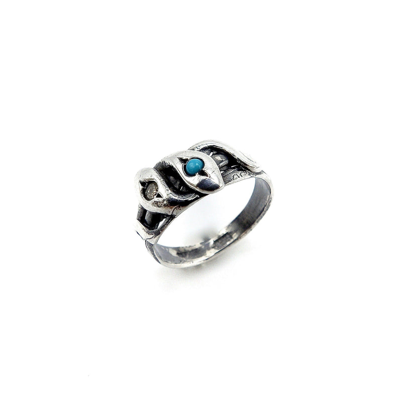Victorian Revival Sterling Silver Snake Ring w/ Diamond & Turquoise Ring Kirsten's Corner Jewelry