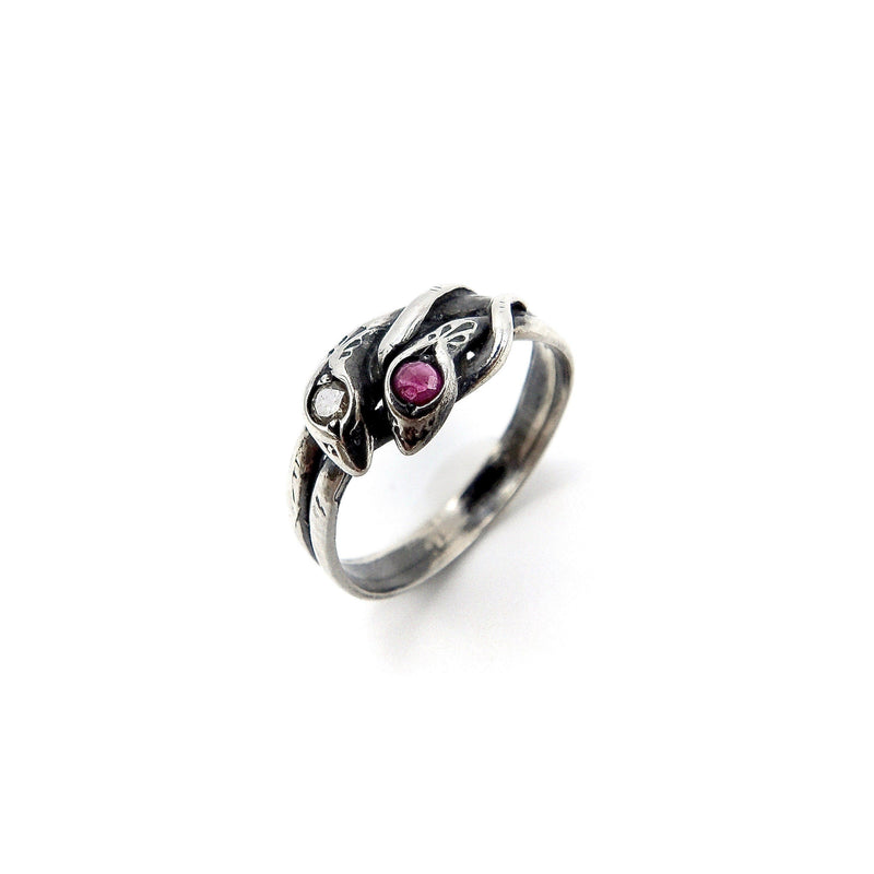 Victorian Revival Sterling Silver Ruby & Diamond Snake Ring Ring Kirsten's Corner Jewelry