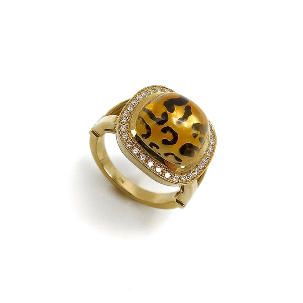 Leopard Spotted Reverse Painted Citrine Cabochon Ring with Diamond Halo in 14K Gold Ring Kirsten's Corner