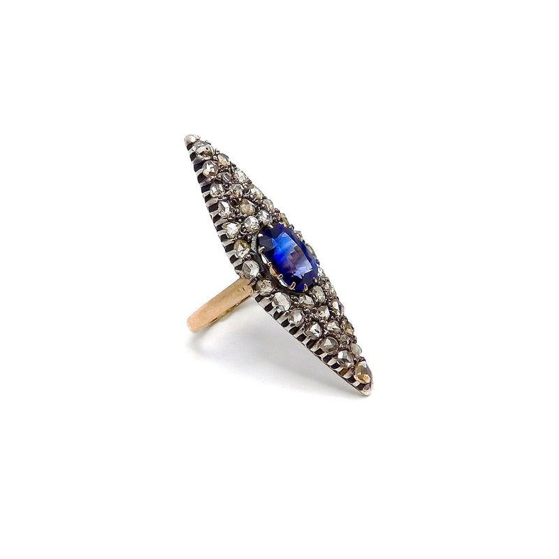 Navette Shape Silver-Topped Gold Sapphire and Diamond Ring Ring Kirsten's Corner