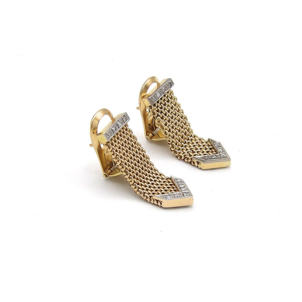 Vintage Diamond and 18K Gold Mesh Earrings - Kirsten's Corner Jewelry