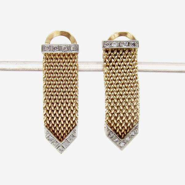 Vintage Diamond and 18K Gold Mesh Earrings Earrings Kirsten's Corner Jewelry
