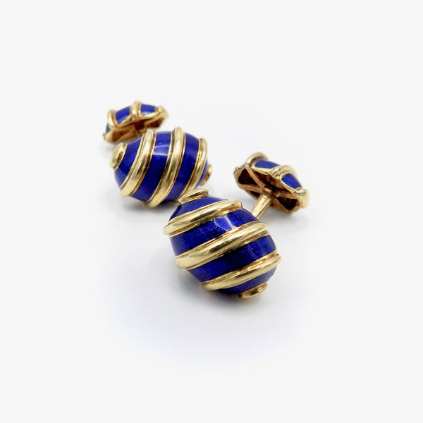 "18K Gold & Blue Enamel Schlumberger for Tiffany & Co ""Olives"" Cufflinks Cufflinks Kirsten's Corner Jewelry"