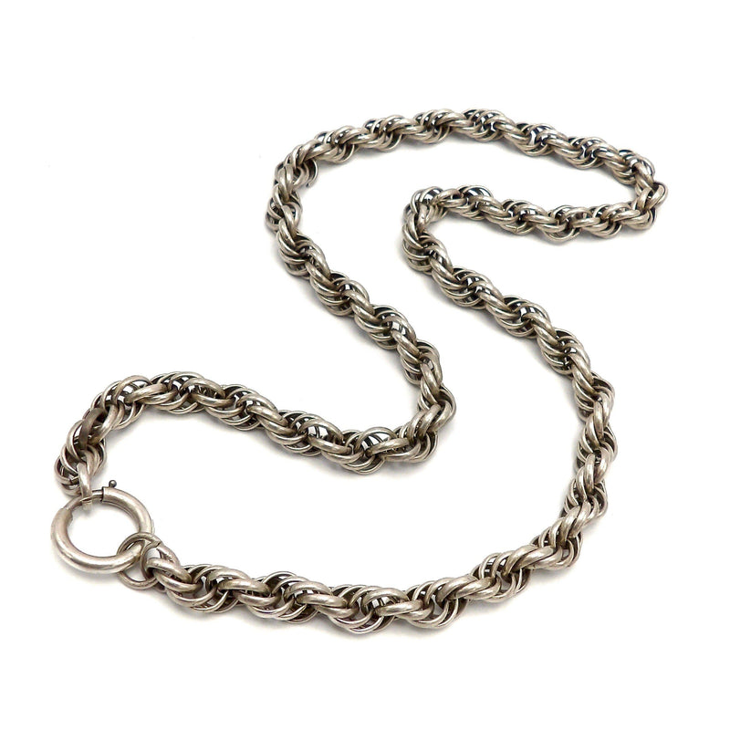 Vintage Silver Alloy Rope Chain Necklace with Large Spring Ring Chain Kirsten's Corner Jewelry