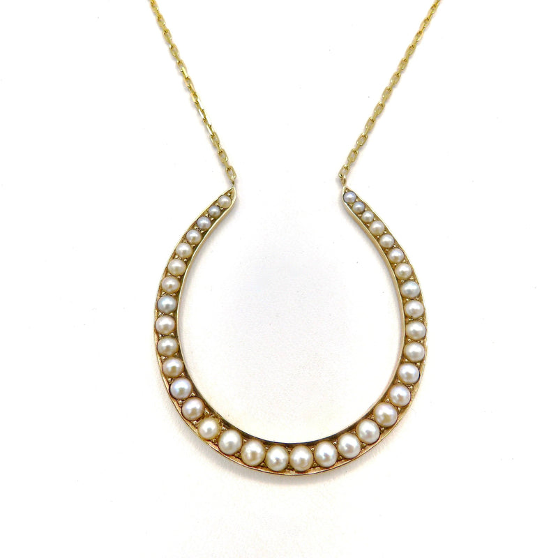 14K Gold Pearl Horseshoe Necklace with Fine Paper Clip Chain Necklace Kirsten's Corner Jewelry