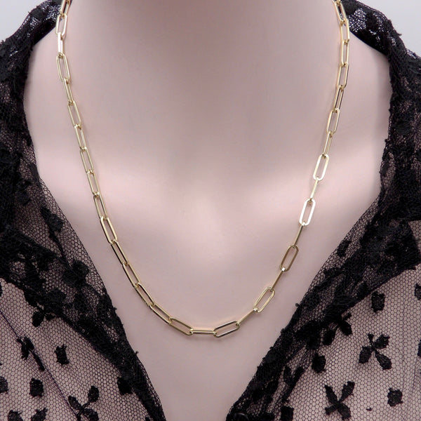Italian 14K Gold Paperclip 20-Inch Chain Necklace Necklace Kirsten's Corner Jewelry