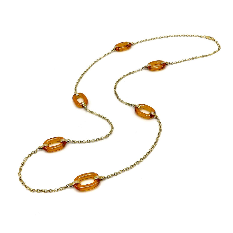 14K Gold and Carved Glass Necklace Necklace Kirsten's Corner Jewelry