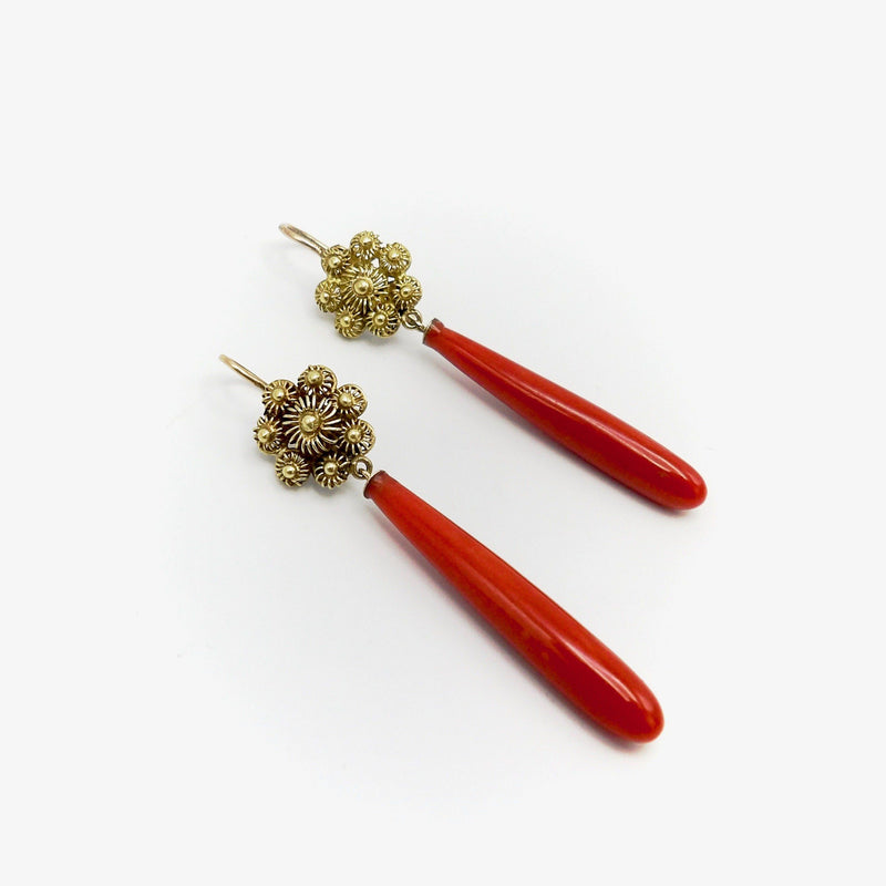 14K Gold Victorian Coral Earrings from Sardinia Earrings Kirsten's Corner
