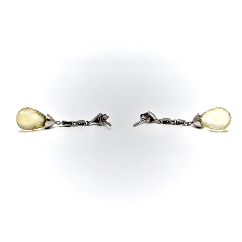 14k Briolette Citrine and Diamond Dangle Earrings Earrings Kirsten's Corner Jewelry