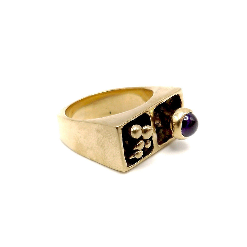 14K Modern Architectural Ring with Amethyst Ring Kirsten's Corner Jewelry