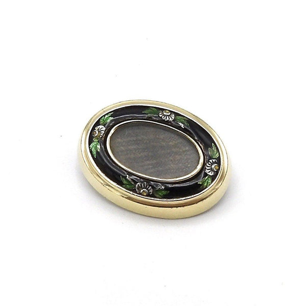 Victorian 12K Gold, Silver and Enamel, Mourning Hair Brooch - Kirsten's Corner Jewelry