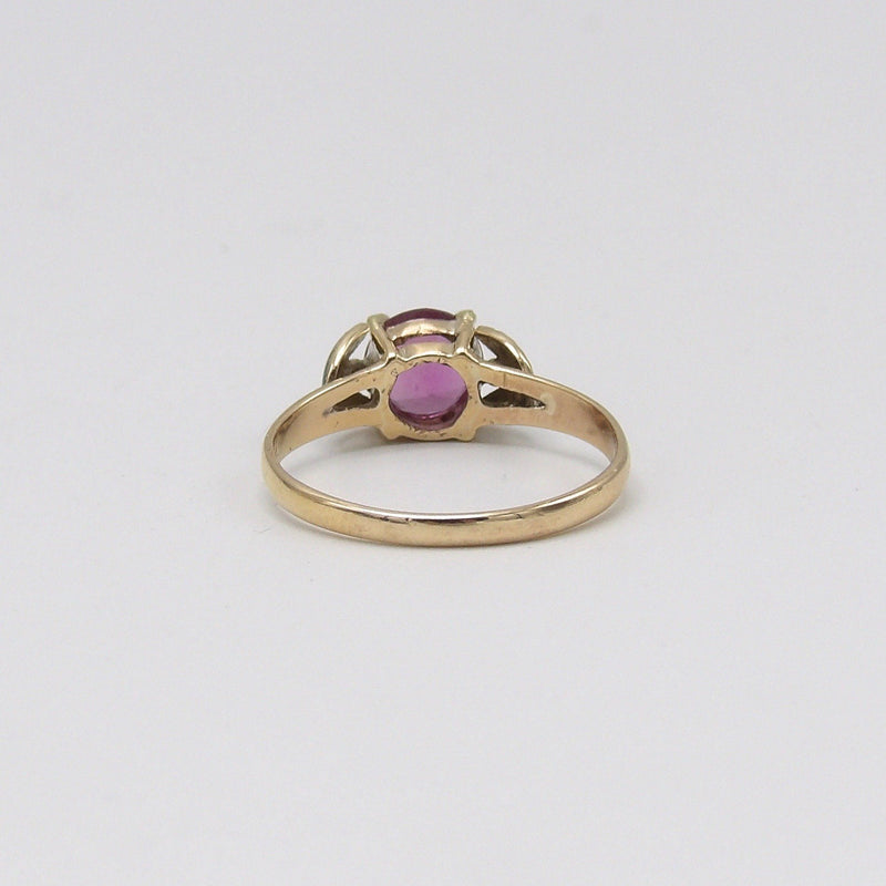 Romantic 14K Gold, Pink Sapphire, Green Enamel Flower Ring Ring Kirsten's Corner Jewelry