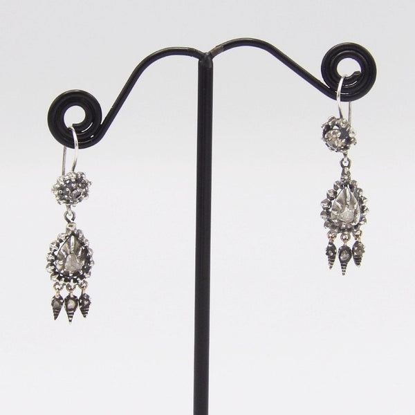 Georgian Sterling Silver & Diamond Collett Set Earrings - Kirsten's Corner Jewelry