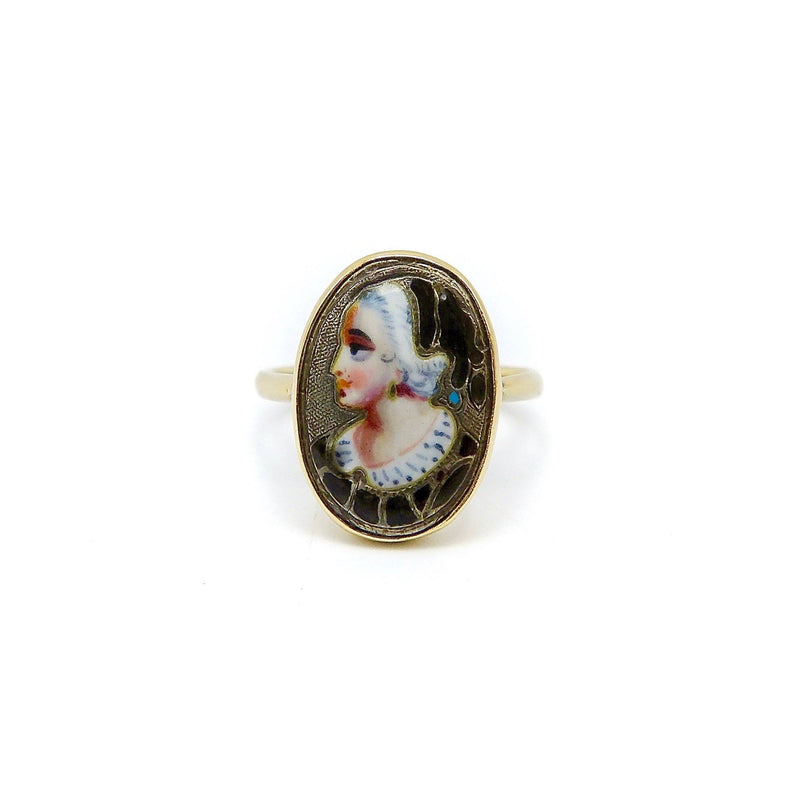 9K Gold Early Victorian English Enamel Portrait Ring Ring Kirsten's Corner Jewelry