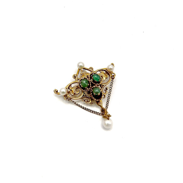 14K Gold Renaissance Revival Emerald Cabochon and Pearl Brooch-Pendant Brooch Kirsten's Corner Jewelry