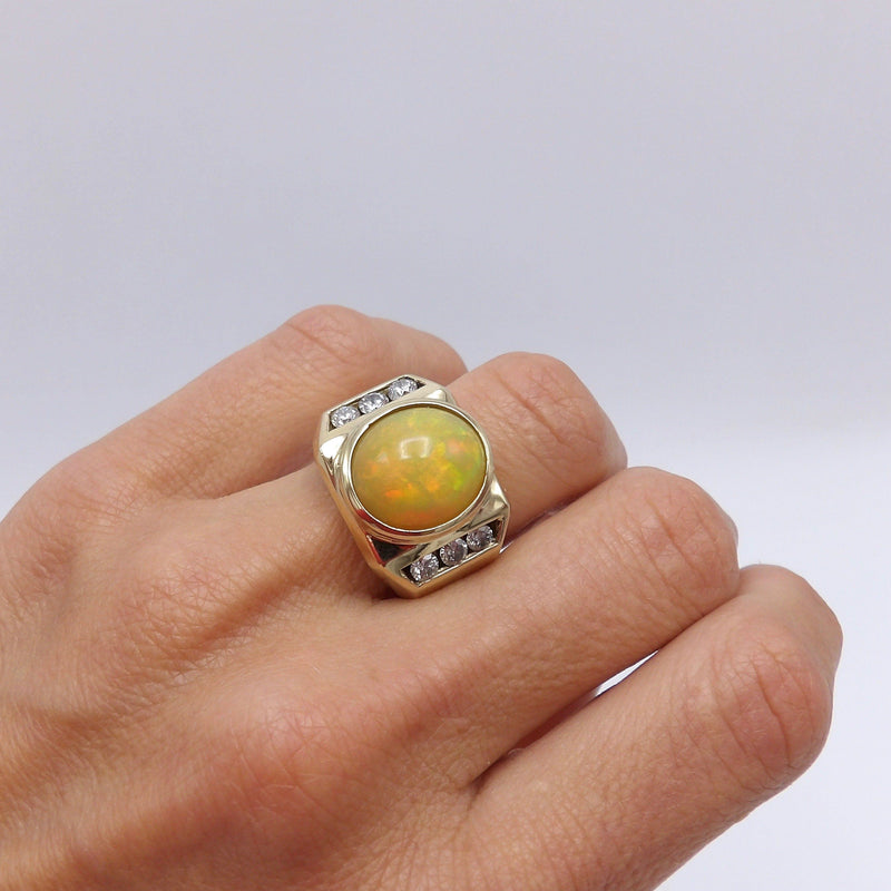 14K Gold Ethiopian Opal & Diamond Cocktail Ring Ring Kirsten's Corner Jewelry