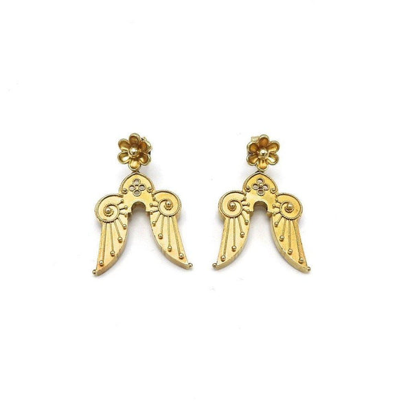 Victorian 14K Gold Etruscan Revival Angel Wing Earrings Earrings Kirsten's Corner Jewelry