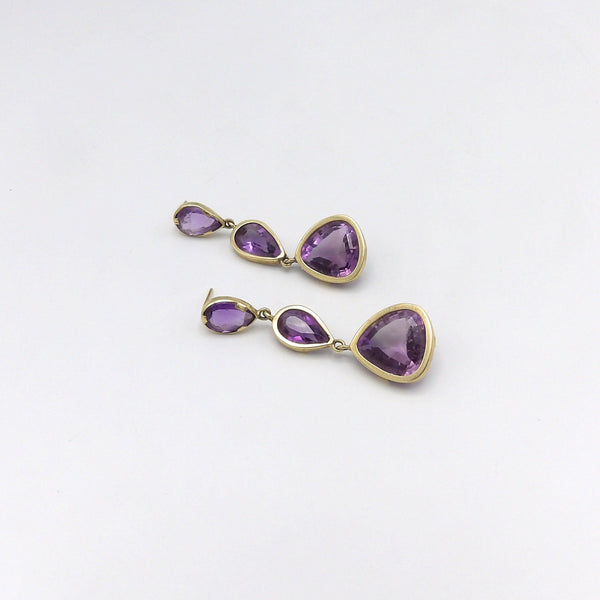 14K Gold and Amethyst Modernist Drop Earrings, 22.25 CTW Earrings Kirsten's Corner Jewelry