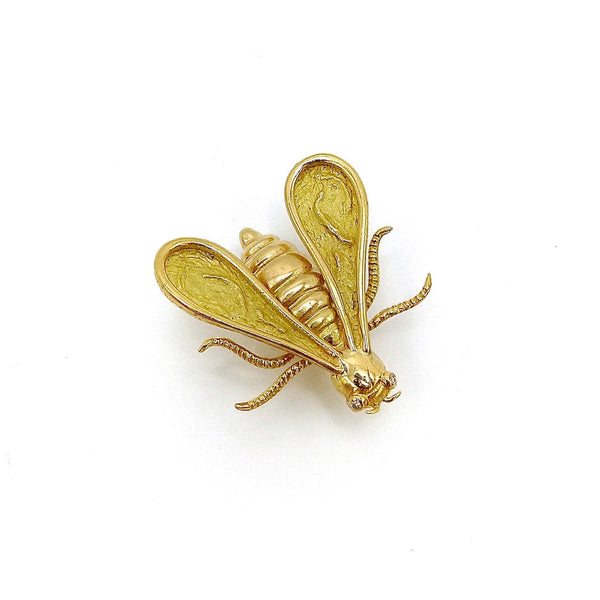 18K Gold & Diamond Chaumet Bee Brooch or Pendant Brooch Kirsten's Corner Jewelry