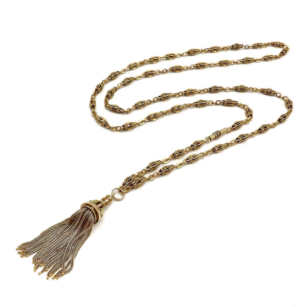 14K Gold Victorian Fancy Link Long Chain with Tassel Chain Kirsten's Corner