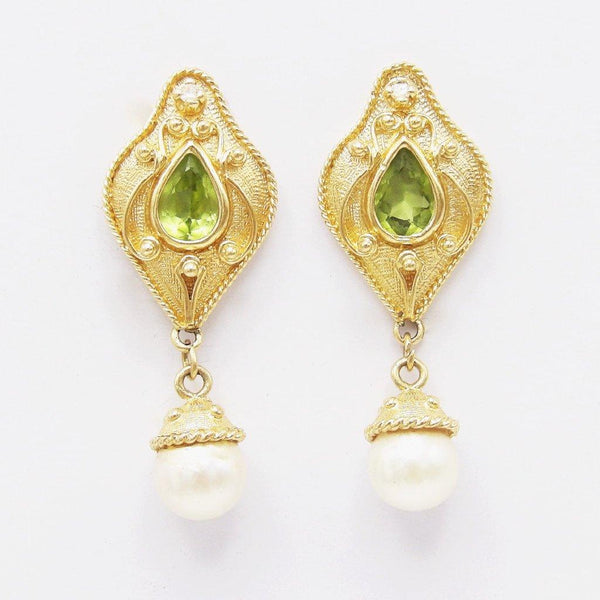 14K Gold, Diamond & Citrine Renaissance Revival Earrings Earrings Kirsten's Corner Jewelry