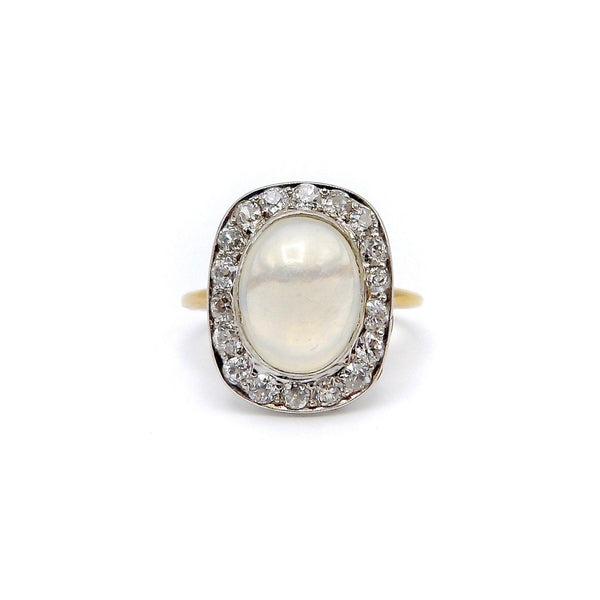 Art Deco18K Gold & Platinum Moonstone Cabochon with Diamonds Ring Ring Kirsten's Corner Jewelry