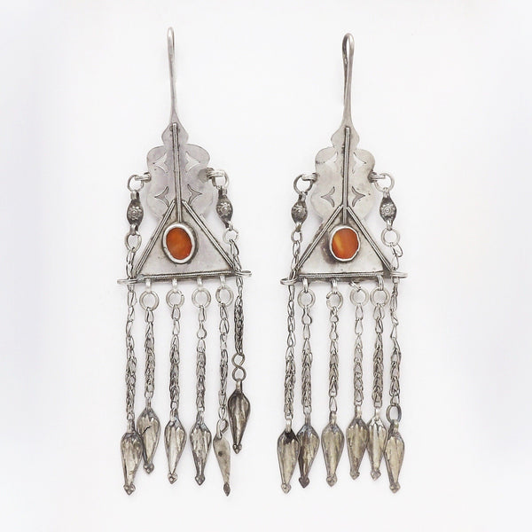 Hand-crafted Tribal 800 Silver & Carnelian Uzbekistan Earrings Earrings Kirsten's Corner Jewelry