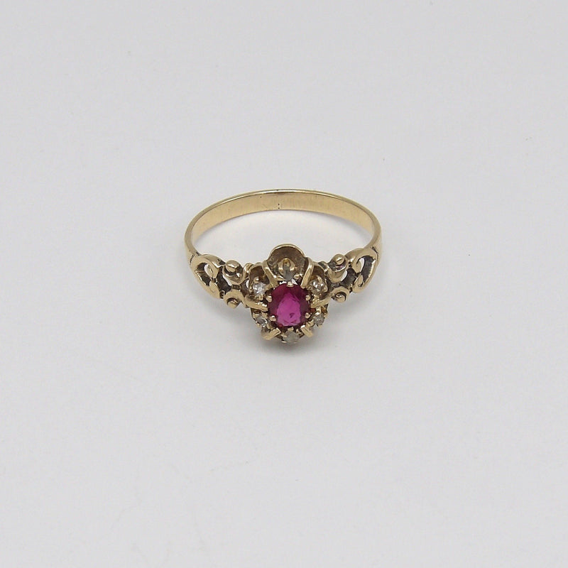 Victorian Era 14K Gold, Diamond and Ruby Ring Ring Kirsten's Corner Jewelry