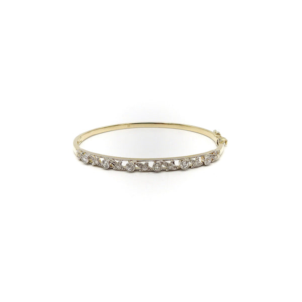 Edwardian 14K Gold Platinum Topped Bracelet with Old European Cut Diamonds Bracelet Kirsten's Corner