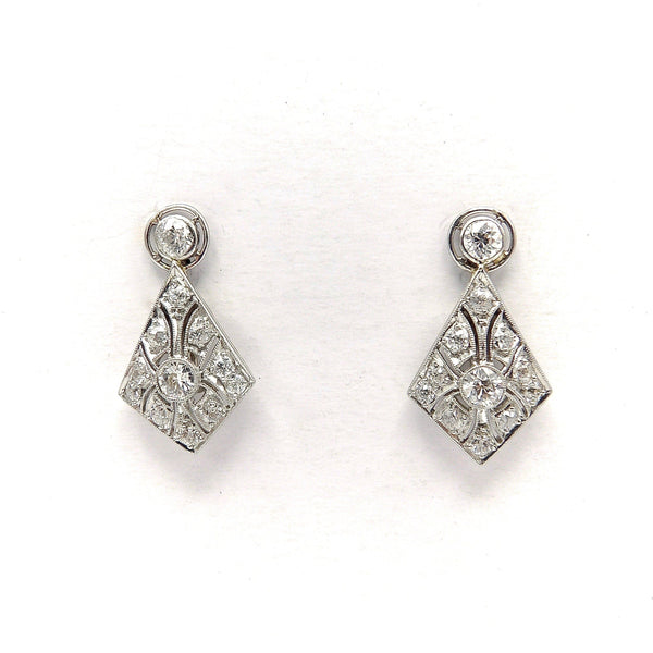Platinum Kite Shape Diamond Earrings with Filigree Earrings Kirsten's Corner