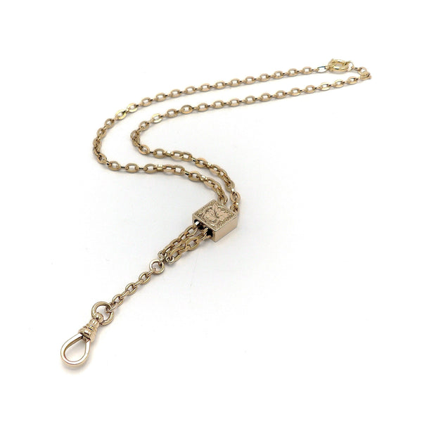 14K Yellow Gold Watch Chain with Slide and Dog Clip Necklace Chain Kirsten's Corner