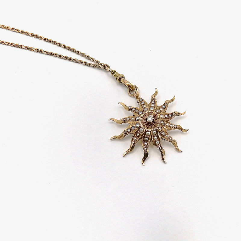 14K Gold Radiating Pearl Encrusted Star Pendant with Diamond Pendant Kirsten's Corner
