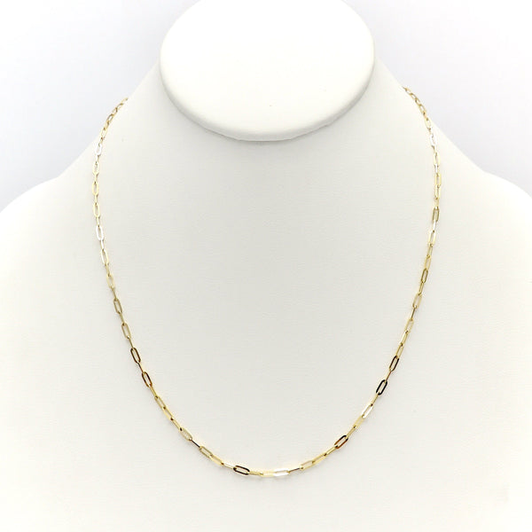 14K Gold Tiny Paper Clip Link Necklace Chain Kirsten's Corner