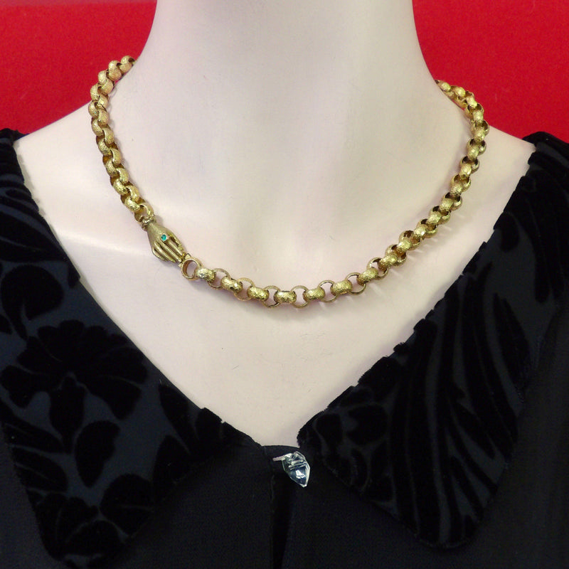 18K Gold Georgian Chain Necklace with Hand Clasp with Emerald Necklace Kirsten's Corner